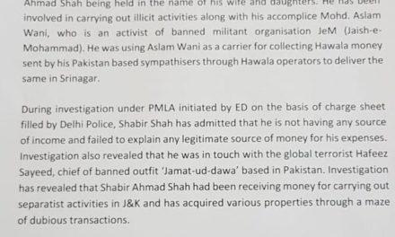 Enforcement Directorate attaches property of Hurriyat leader Shabir Shah in Srinagar