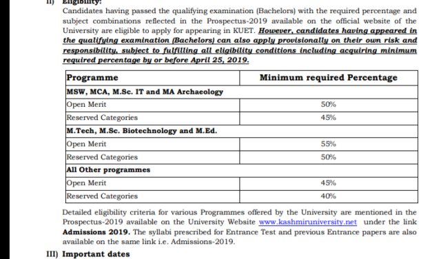 KU: PG ENTRANCE TEST-2019 : On-line Applications are invited from the eligible candidates (Bachelors) for appearing in Kashmir University Entrance Test
