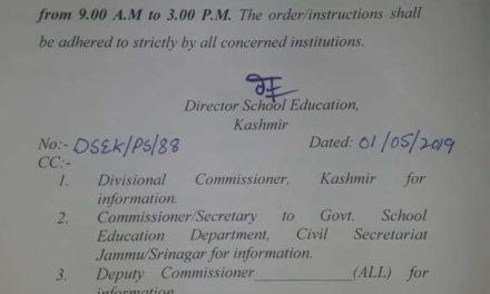 DSEK modifies previous order, changes school timings in Srinagar