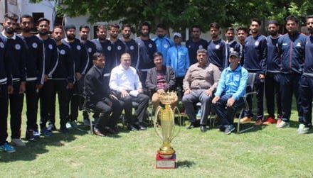 ADGP Armed J&K felicitates J&K Police Football Team