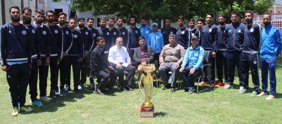ADGP Armed J&K felicitates J&K Police Football Team