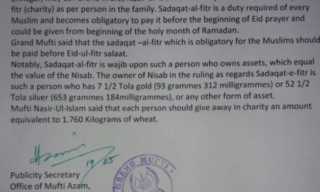Grand Mufti fixes Rs 50 per person as Sadaqat- Ul- fitr