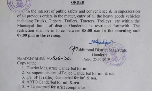 Entry of heavy vehicles restricted during day hours in Ganderbal