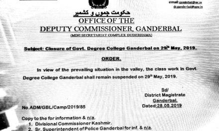 The Class Work In Government Degree College Ganderbal Shall Remain Suspended on 29th May 2019