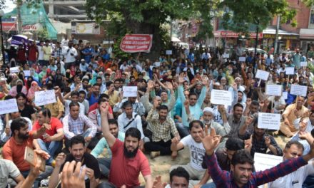 (HDF) protest in Srinagar. Demand regularization and release of pending salaries