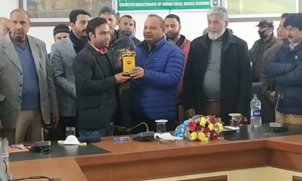 Directorate of Urban Local Bodies organises an award ceremony in Dak Banglow Anantnag,Feroz Ahmad awarded for the best performance