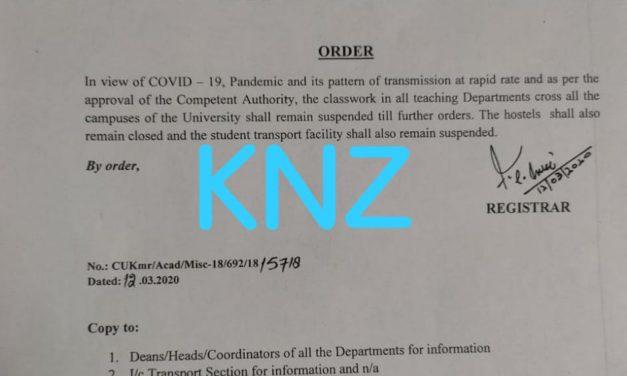 Central University of Kashmir suspends class work till further order