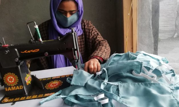 COVID-19:Salma making masks to lend her contribution in Ganderbal