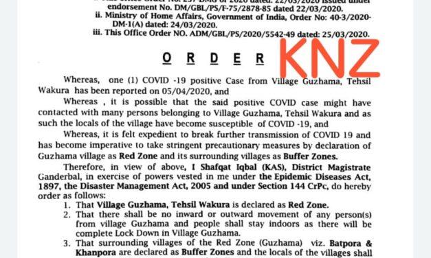 Guzhama village declared red zone in Ganderbal to prevent spread of COVID-19